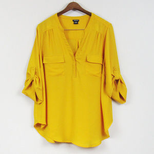 Torrid Georgette Blouse Yellow Size 2X Pullover
